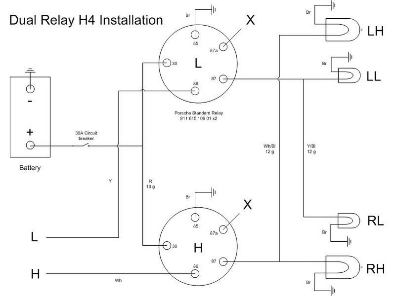 porsche 911 85 wiring diagram additional porsche relay for headlights lighting impact bumpers  additional porsche relay for headlights