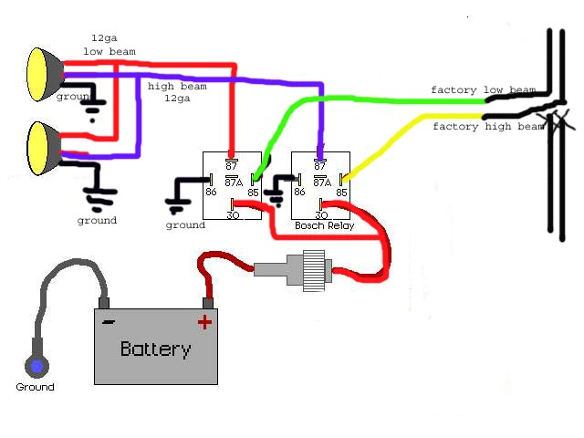 H4 Headlight Relay Wiring Harness Diagram | Wiring Diagram on fan switch wiring diagram, ac switch wiring diagram, dimmer switch wiring diagram, electric fan thermostat wiring diagram,